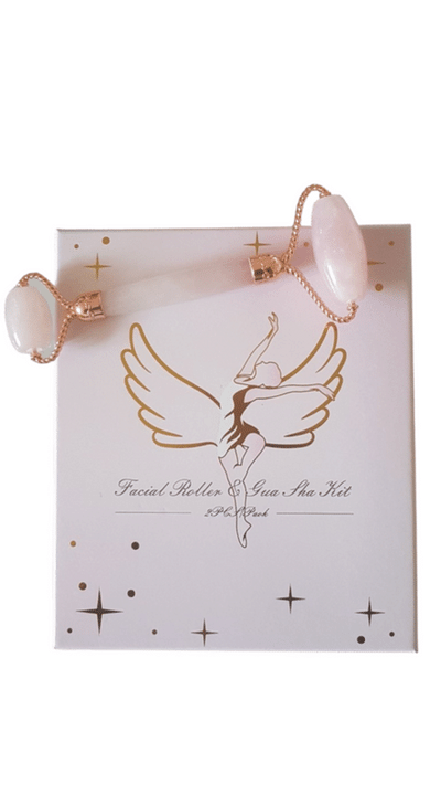 Beauty Wow Rose Quartz Angel Facial Roller & Gua Sha Gift Set 12