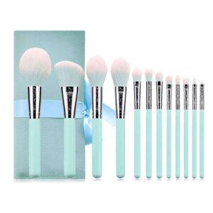 Blue Makeup brush set 9 with logo