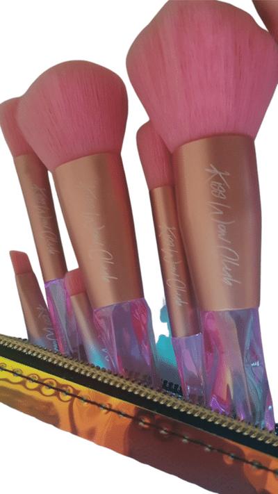 Kiss Wow Club Holographic Crystal Pink Makeup Brush Set 2