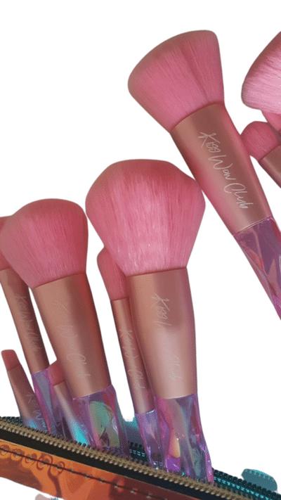 Kiss Wow Club Holographic Crystal Pink Makeup Brush Set 3