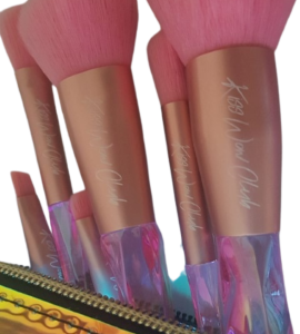 Kiss Wow Club Pink Holographic Makeup Brush Set 4